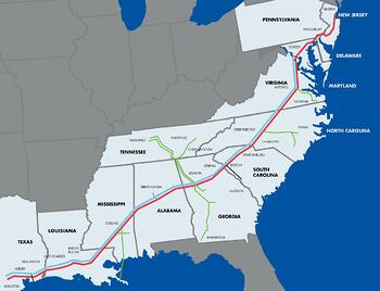 Colonial Pipeline Service Map